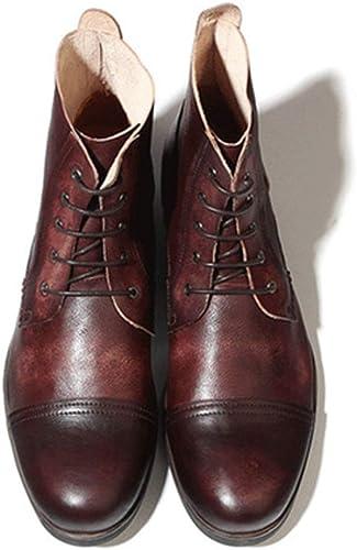ZHRUI Stiefel de Cordones para Hombre Suela Blanda Antideslizante Durable Transpirable Stiefel de Cuero Genuino (Farbe   braun, tamaño   EU 43)