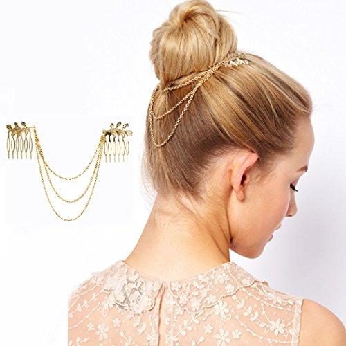 Jovono Chaîne dorée pour cheveux avec peigne à motif de feuille, style bohème, bandeau pour femme