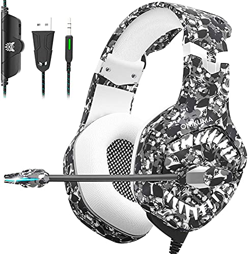 ONIKUMA Gaming Hedaset, Xbox One Headset with Noise Cancelling Mic & Stereo Surround Sound, Over-Ear Headohones with LED Light, PS4 Games Headset Compatible with Xbox One PS5 Mac Laptop PC