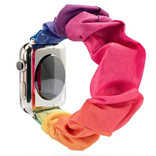 Juanxian Scrunchie - Cinturino elastico di ricambio per Apple Watch, morbido ed elastico, compatibile con iWatch Series1-5 (38 mm/40 mm, 42 mm/44 mm) (Rainbow, 42 mm/44 mm)