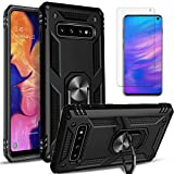 STARSHOP- Samsung Galaxy S10E Case, [NOT FIT S10/ S10 Plus / S10 LITE] with [Tempered Glass Protector Included] Metal Ring Stand Shockproof Drop Protection Phone Cover-Black