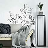 RoomMates Music Note Scroll Peel and Stick Wall Decals,Black