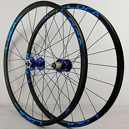 SN Mountainbike Radsatz 26 27.5 29 Zoll MTB Fahrrad Laufradsatz Doppelschichtrand Scheibenbremse Vorderer Hinterradsatz QR 7/8/9/10/11/12 Geschwindigkeit (Color : Blue Hub Blue Label, Size : 29inch)