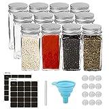 Wuudi Gewürzgläser, 12 Stück gewürzglas Quadratische Glasbehälter 120ml Luftdichte Kappe mit Silikon Trichter & Runden Leeren Aufklebern