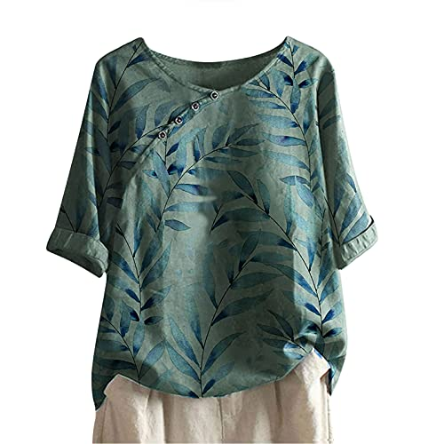 AMhomely Camiseta suelta para mujer, manga corta, cuello redondo, manga corta, estampado de flores, para mujer, talla 7 a 10 días