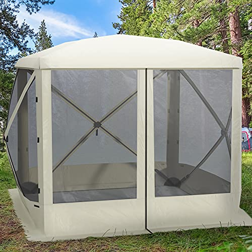 Outsunny Pop Up Camping Canopy Gazebo Screen Shelter Tent with One-Person Easy Set-Up, Ventilating Mesh, Portable Carry Bag for Outdoor Camping Party Event, 7x7FT, Beige