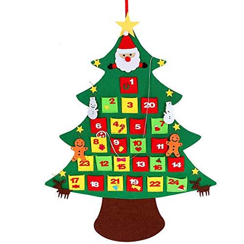 Gaoominy A?O Nuevo Navidad Calendario de Adviento 3D Fieltro DIY áRbol de Navidad Ni?Os Juguete Regalo Adornos Colgantes de Pared DecoracióN de Oficina en Casa