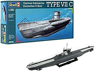 Revell- German Type VII C Maqueta Submarino, 10+ Años, Multicolor, 19,2cm de Largo (05093)