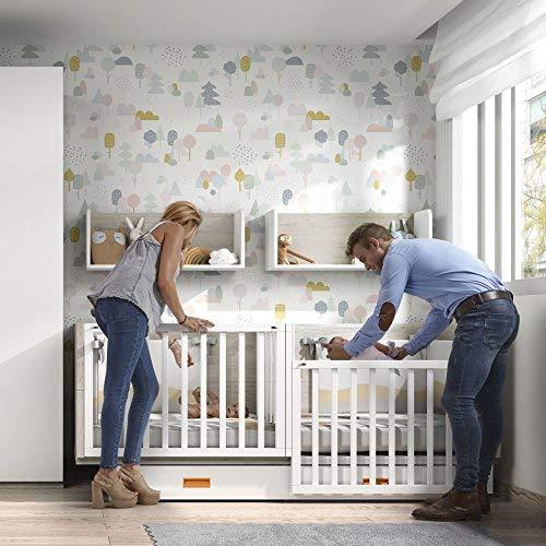 Möbel Rosen Zwillingsbett, erweiterbar – 86,7 x 203,8 x 100 cm – Eiche/Weiß/Kürbis