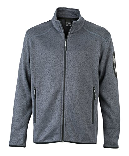 James & Nicholson Herren Jacke Jacke Knitted Fleece Jacket grau (Dark-Grey-Melange/Silver) Large