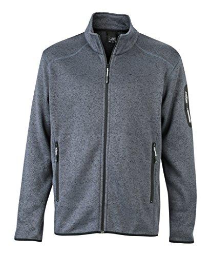 JAMES & NICHOLSON Jacke Knitted Fleece Jacket Blouson Homme, Gris (Dark-Grey-Melange/Silver), (Taille Fabricant: Small)