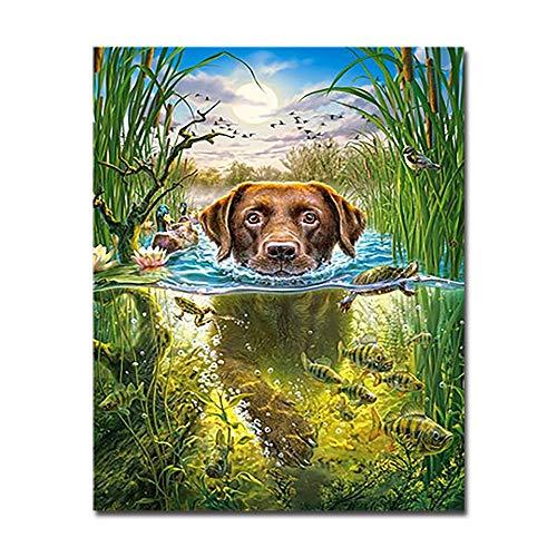 GUUTOP Pintura Digital Pintura al óleo DIY Pintado a Mano Perro de natación Lienzo Arte de la Pared colorante Animal Pescado Cuadro Pintura decoración del hogar Marco de Regalo
