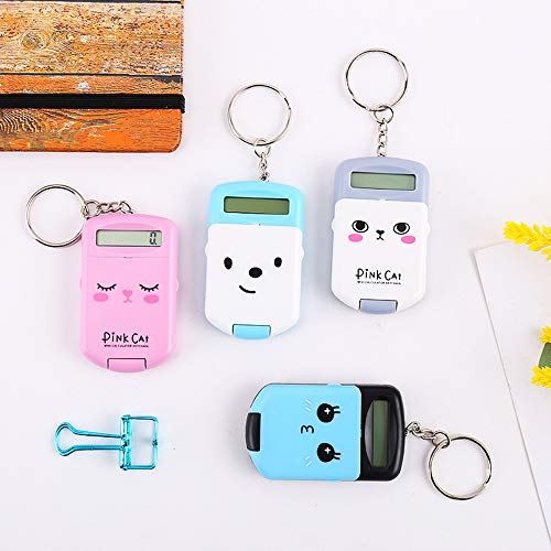 Decdeal Mini Calculator Cute Cartoon with Keychain 8 Digits Display Portable Pocket Size Calculator for Children Students School Supplies