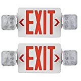 AmazonCommercial Emergency Light Exit Sign, 2-Pack, Exit Combo with Battery Backup, 2 LED Adjustable Heads