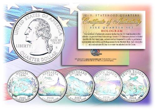 2006 US Statehood Quarters HOLOGRAM 5-Coin Complete Set w/Capsules & COA