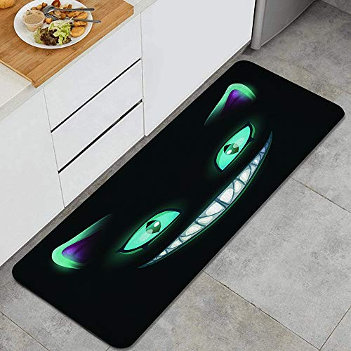 KGSPK Anti Fatigue Kitchen Rugs Blue Smile Fantasy Scary Smiling Cat Face On Black Cheshire Alice Eyes Fairy Horror Comfort Non-Slip Doormat mat Area Rug for Floor Home,Office,Sink,Laundry