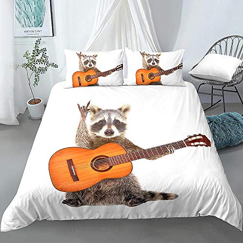 Rock Raccoon with Guitar 3D Printed Duvet Cover and Pillowcase 3 Pcs Bedding Set 135x200cm + 50x75cm * 1