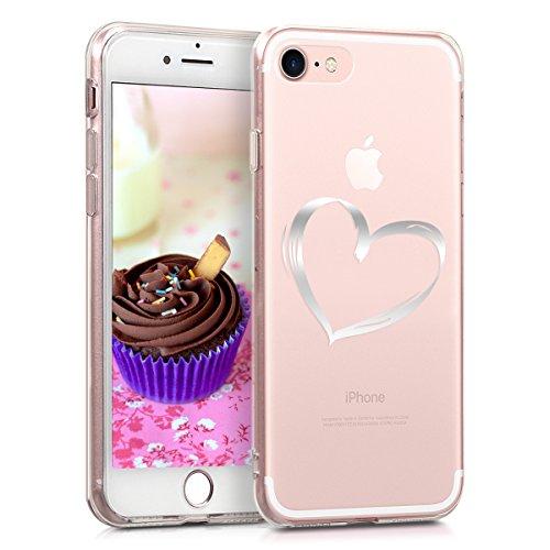 kwmobile Hülle kompatibel mit Apple iPhone 7/8 / SE (2020) - Handyhülle Silikon Hülle - Herz Brush Silber Transparent