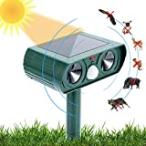 USKICH Ultrasonic Animal Repeller Solar Dog Chaser, Animal Deterrent with Motion Sensor and IP65 Waterproof Outdoor Farm Garden Yard Repellent for Dogs,Cats,Birds