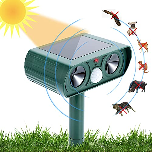 USKICH Ultrasonic Animal Repeller Solar Dog Chaser  Animal Deterrent with Motion Sensor and IP65 Waterproof Outdoor Farm Garden Yard Repellent for Dogs Cats Birds