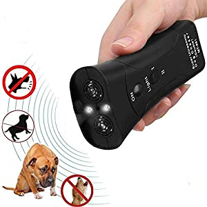 KOBWA Handheld Dog Repellent & Trainer, Dual Channel Ultrasonic Anti Barking Device 3 en 1 Repeller Dog/Outil de Formation/Arrêtez d'aboyer avec Lampe de Poche LED - 100% sans Danger
