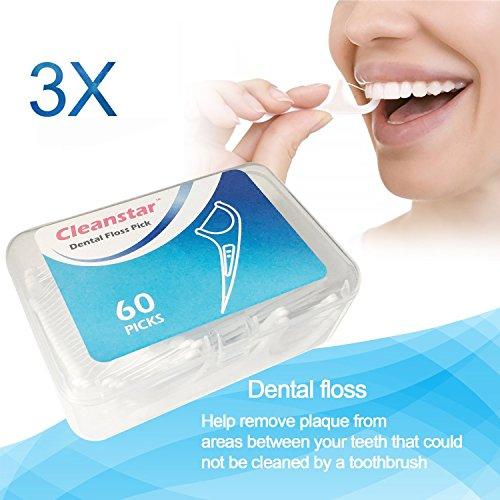 Ealicere Zahnseide,Dental Floss, 180 Stück Weiß Zahnpflege, Zahn Draht, Zahnpflege Interdental Flossers, Disposable Fresh Zahnseide Floss, Zahnseidensticks, Zahn Draht 3er Pack Gesamt 180 Stück