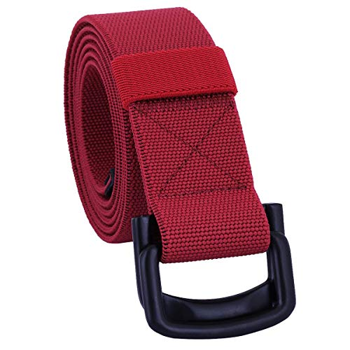 Sportmusies Elastic Belts for Men, Military Style Stretch Webbing Tactical Duty Belt (Red,D-Ring Buckle)