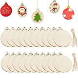 Wood Ornaments Slices,2.9 inch Round Wooden Christmas Hanging Decoration DIY Craft Presents Gift,20Pcs (20)