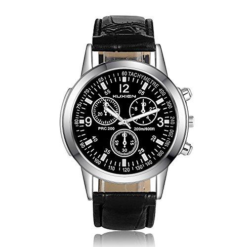 KUXIEN Unisex Uhr Chronograph Quartz mit Leder Armband