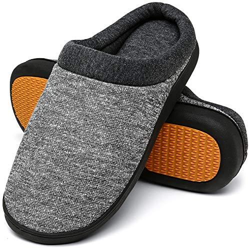Winter Hausschuhe Damen Memory Foam Plüsc Pantoffeln Frauen Warm rutschfeste Slippers für Indoor & Outdoor Grau-A Gr.40/41 EU (280mm)