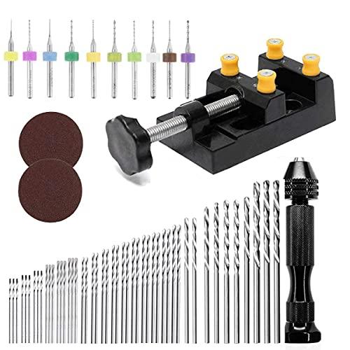 EDIONS 62 Stück Handbohrer Set, Mini-Schraubstock-Handbohrer-Set mit Mini-Bohrern, Micro-Spiralbohrern und Schraubstock für Modellbau, Basteln, Heimwerken, Holzbearbeitung, Kunststoff