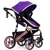 Cochecito de bebé plegable de alta vista Cochecito de viaje convertible Cochecito de bebé con asiento múltiple reclinable Asiento extendido Parto recién nacido Infantil Niño pequeño Sillón Morado