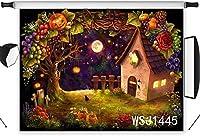 写真の背景の新しいハロウィーンの背景7x5ftビニールハロウィーンパンプキンランタンの森の背景パーティーイベントのポートレート写真ブースの背景