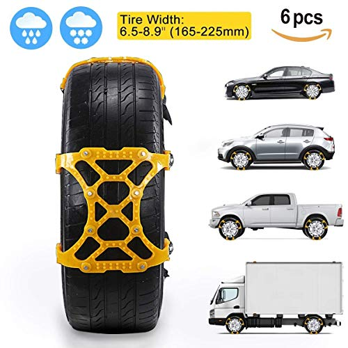 Car Snow Chains - Premium Quality Strong Durable All Season Anti-Skid Car, SUV, and Pick Up Patterned Tire Chains for Emergencies and Road Trip
