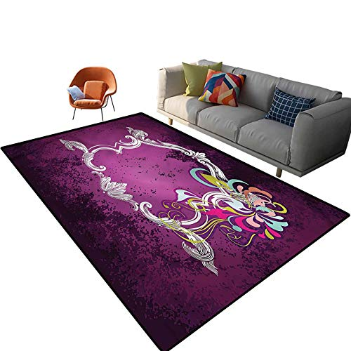 Indoor Room Purple Area Rugs,6'x 9',Vintage Antique Frame Motif Floor Rectangle Rug with Non Slip Backing for Entryway Living Room Bedroom Kids Nursery Sofa Home Decor