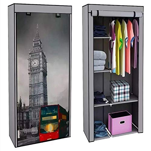 Just Home Rack & Pack Closet Ropero Big Ben Armable Portatil Entrepaños Resistente Excelente Calidad Medidas: 168cm Alto X 105cm Largo X 45 cm Ancho