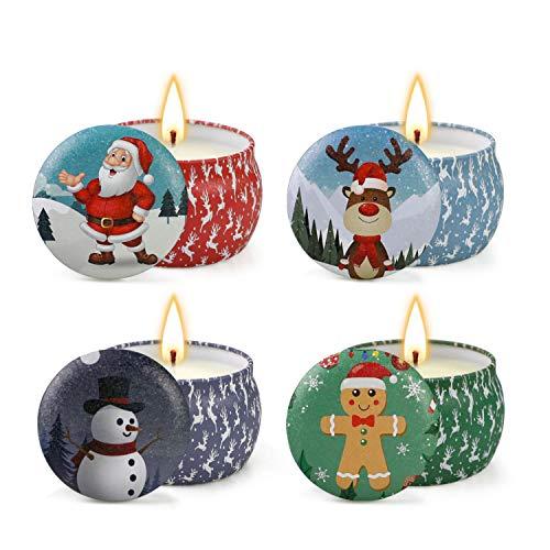 Velas perfumadas de Navidad Juego de Regalo, Velas de aromaterapia 4 latas, Fiestas en casa, Celebraciones, Regalos Ideales para Mujeres
