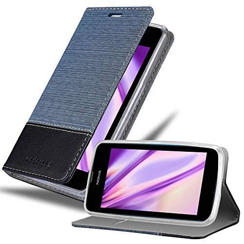 Cadorabo Custodia Libro per Nokia Lumia 530 in Azzurro Scuro Nero - con Vani di Carte, Funzione Stand e Chiusura Magnetica - Portafoglio Cover Case Wallet Book Etui Protezione
