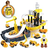 Construction Kids Toys Set: Construction site special designed box with 1:64 die-cast excavator, bulldozers, mixer truck, dumper truck, crane,carry-scraper and one construction worker. High Quality Metal Die Cast: This construction trucks play set ar...