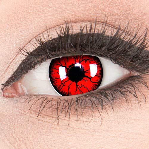 Funnylens Rote Kontaktlinsen 'Metatron' MIT STÄRKE - 1 Paar Farbige Crazy Fun Motivlinsen inkl. Behälter -5,00