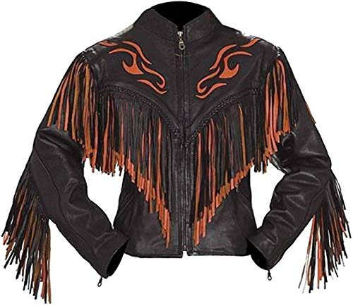 LEATHERAY Mens Fashion Western Genuine Cowboy Jacket Native American Wears Fringed /& Beaded Jacket Leather Brown M