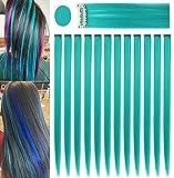 Fcysws 12 piezas extensiones de cabello de colores 21 pulgadas peluca de pelo liso sintético resistente al calor postizo mujeres niñas regalo de fiesta (Azul verde)