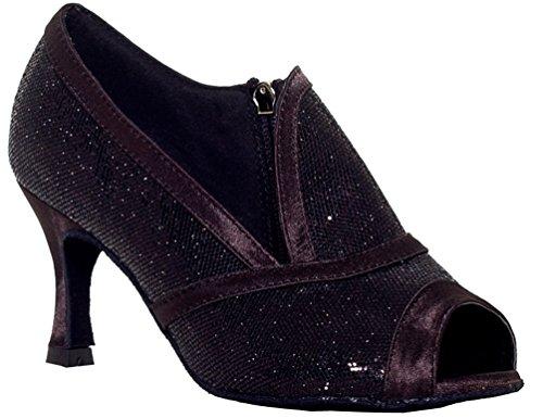 Salabobo YYM-L001 Womens Character Latin Ballroom Zip Peep Toe Mid Heel PU Dance Shoes Black US 7(3IN)