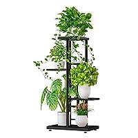 decdeal espositore per piante in metallo, scaffale per vasi da fiori 4 livelli 5 vasi,supporto per fiori,scaffale porta per piante,per balcone interni esterno giardino