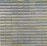 Mosaico sobre red de gres porcelánico de cerámica, fabricado en Italia – Crystal 163 aguamarina