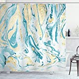 Ambesonne Marble Print Shower Curtain, Golden Yellow Tone and Ocean Inspired Colored Abstract Natural Motif, Cloth Fabric Bathroom Decor Set with Hooks, 75' Long, Pale Camel Sea Blue