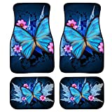 INSTANTARTS Blue Butterfly Stylish Premium Quality Carpet Floor Mats for Womens ,Set of 4-Piece Universal Fit for Car Front & Rear Carpet Mat