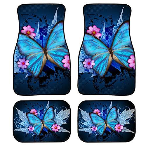 TOADDMOS Juego completo de alfombras de piso de coche con diseño floral de mariposa azul para mujeres, ajuste universal para la mayoría de coches, sedanes, SUV camiones