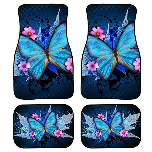 UNICEU Stylish Blue Butterfly Design Premium Quality Carpet Floor Mats for Womens Car/Truck, Set of 4-Piece for Car Front & Rear Carpet Cushion Mat