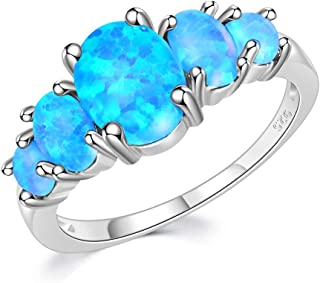 Sterling Silver Plated Created White/Blue/Orange Fire Opal Ring for Wome Opal Jewelry Gift Gemstone Ring Size 5-12